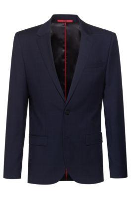 Slim-fit jacket in windowpane-check virgin wool, Dark Blue