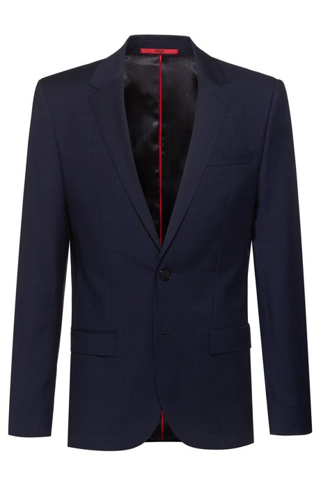 Slim-fit jacket in windowpane-check virgin wool, Dark Blue