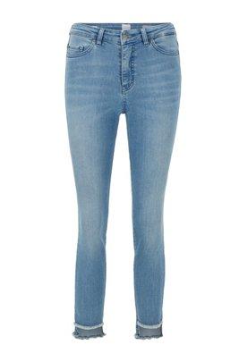 Skinny-fit jeans with frayed-hem detail, Blue