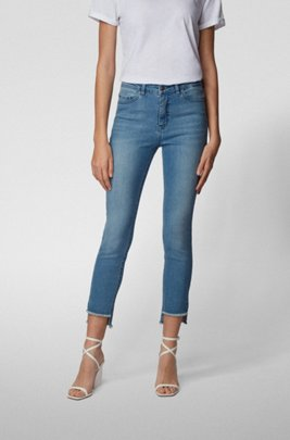 Skinny-fit jeans with frayed-hem detail, Blue
