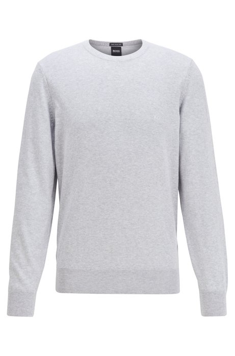 Crew-neck sweater in cotton with chest logo, Light Grey