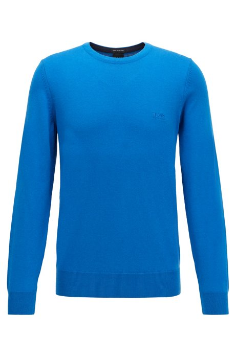 Crew-neck sweater in cotton with chest logo, Blue