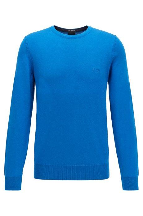 Rundhalspullover aus Single Jersey mit Logo, Blau