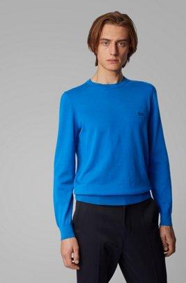 Jersey de cuello redondo de algodón con logo en el pecho, Azul