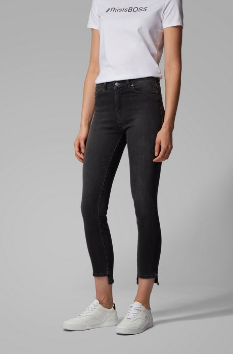 Skinny-Fit Jeans aus Power-Stretch-Denim in Cropped-Länge, Dunkelgrau
