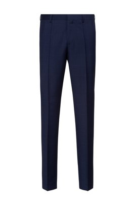 Slim-fit trousers in micro-patterned virgin wool, Dark Blue