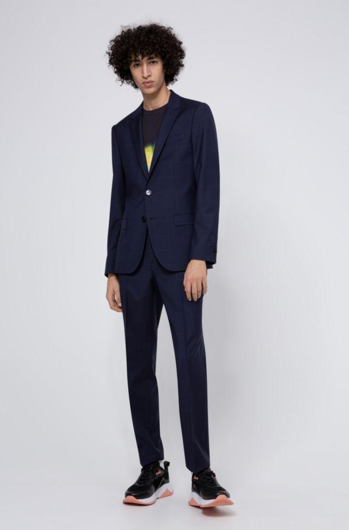 Pantalon Slim Fit en laine vierge à micromotif