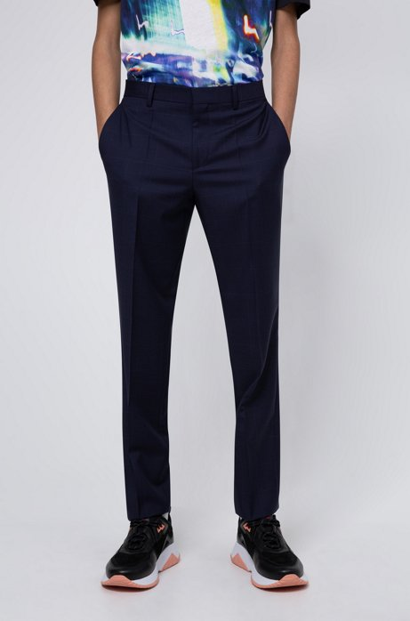 Slim-fit broek van scheerwol met microdessin, Donkerblauw