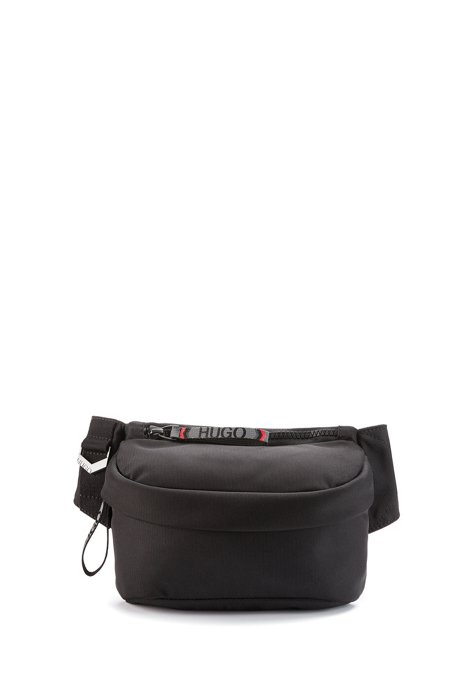 Belt bag with reflective logo-tape pullers, Black