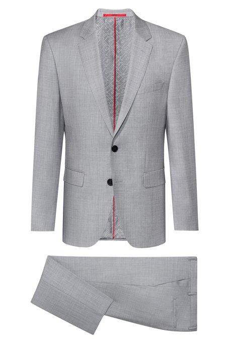 Regular-Fit Anzug aus Schurwolle mit filigraner Twill-Struktur, Hellgrau