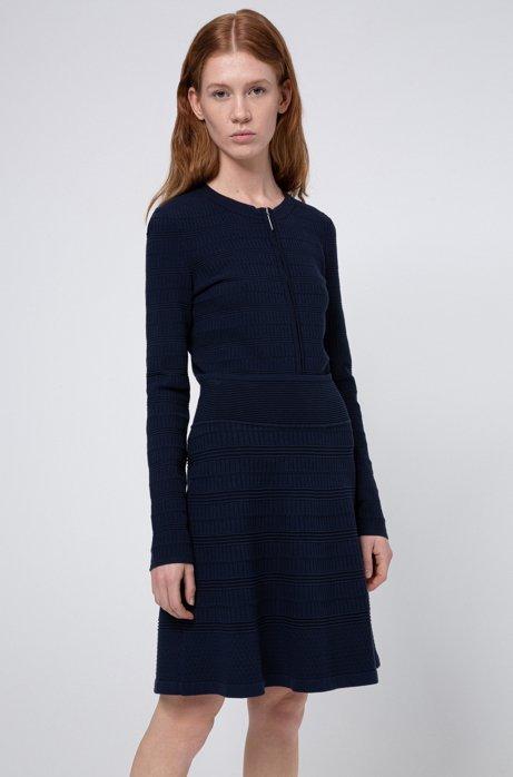 Gebreide rok in A-lijn met all-over-structuur, Donkerblauw