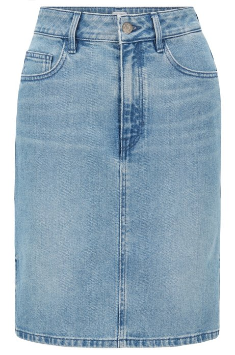 Slim-fit skirt in bright-blue stretch denim, Blue