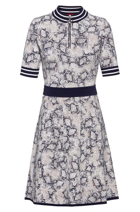 Knitted dress with snakeskin pattern and zipped neck, Patterned