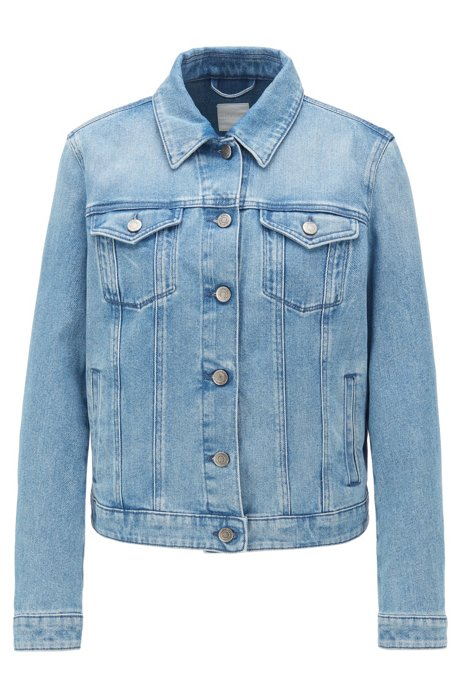 Veste en jean Regular Fit en denim stretch effet délavé, Bleu