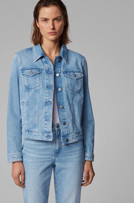 Regular-fit truckerjack van zongebleekt stretchdenim, Blauw