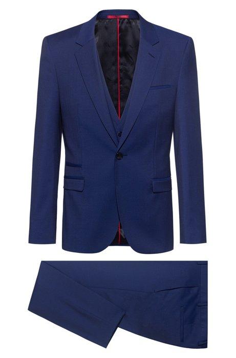 Extra slim-fit driedelig pak van scheerwol, Blauw