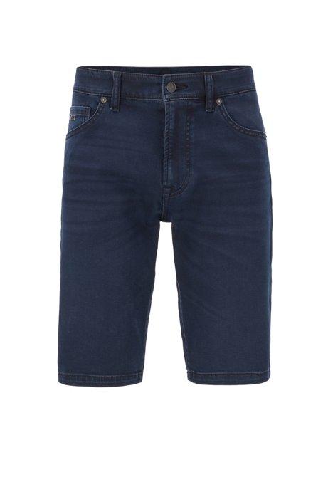 Regular-fit shorts in blue-black super-stretch denim, Dark Blue