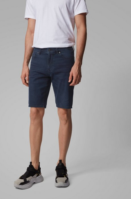 Regular-fit short van blauwzwart super-stretchdenim, Donkerblauw