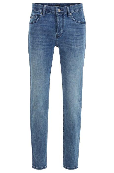 Tapered-Fit Jeans aus elastischem Red-Cast-Denim, Blau