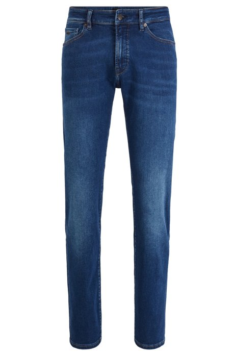 Vaqueros regular fit de tejido denim superelástico con aspecto desgastado, Azul