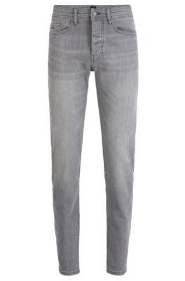 Tapered-Fit Jeans aus Stretch-Denim, Grau