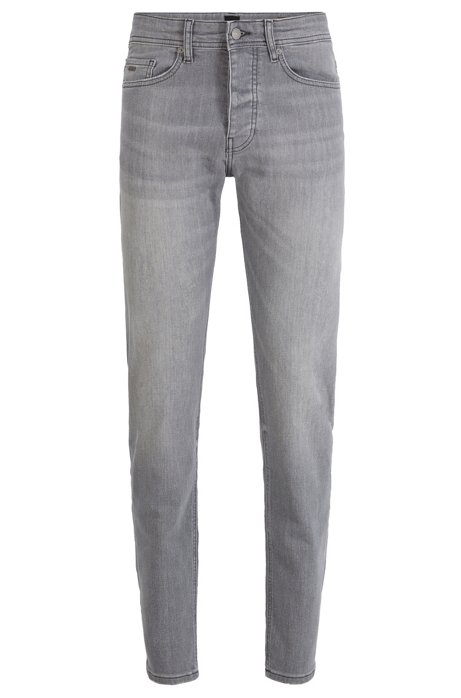 Tapered-fit jeans in grey stretch denim, Grey