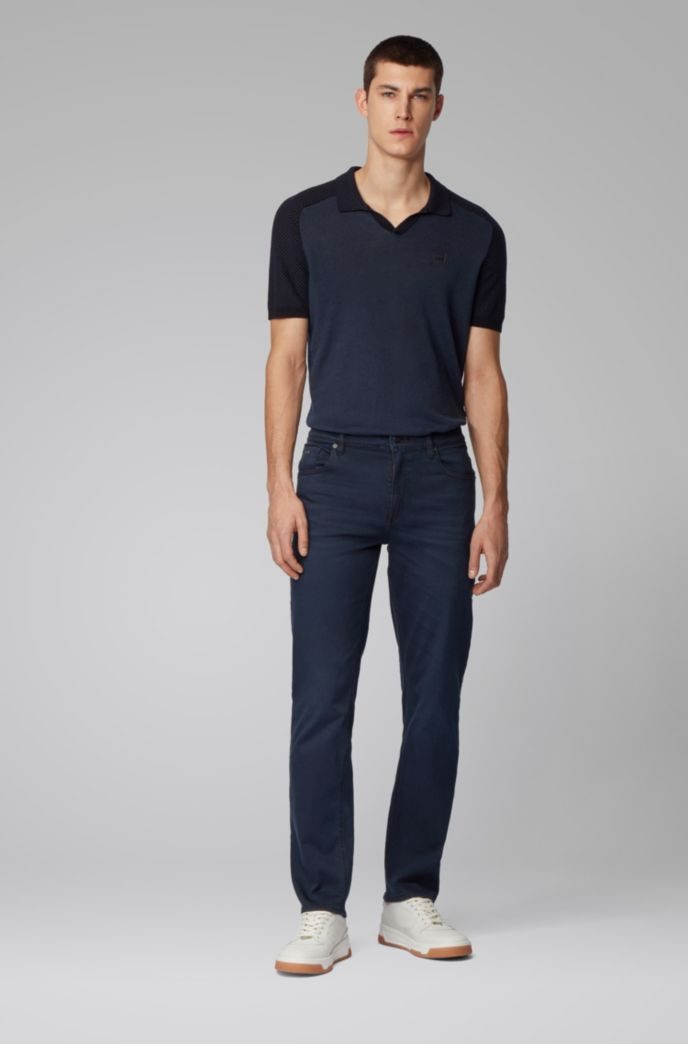 Relaxed-fit jeans van donkerblauw super-stretchdenim