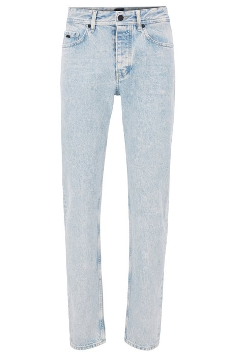 Tapered-fit jeans in snow-washed bright-blue denim, Light Blue