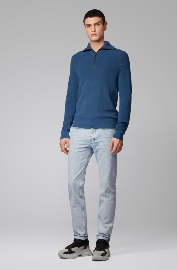 Tapered-Fit Jeans aus Denim in Snow-Washed-Optik