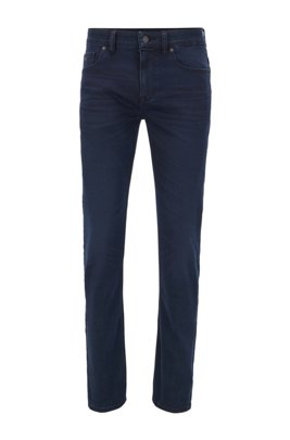 Jeans slim fit leggeri in denim elasticizzato blu scuro, Blu scuro