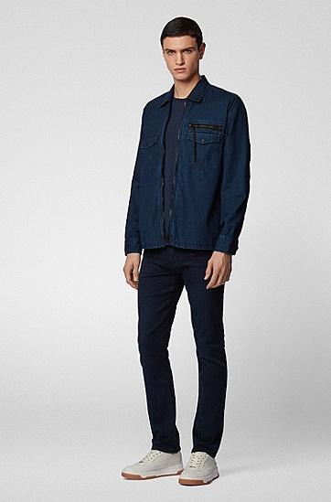 男士轻量深蓝色弹力牛仔布修身牛仔裤,  401_暗蓝色
