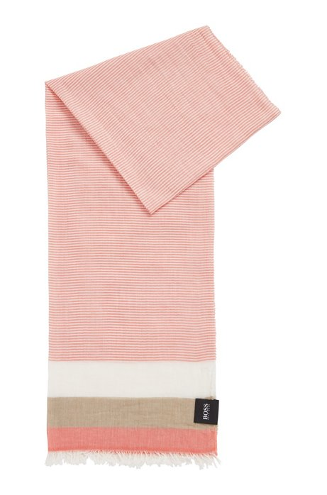 Pañuelo en lona de algodón con rayas horizontales, Naranja