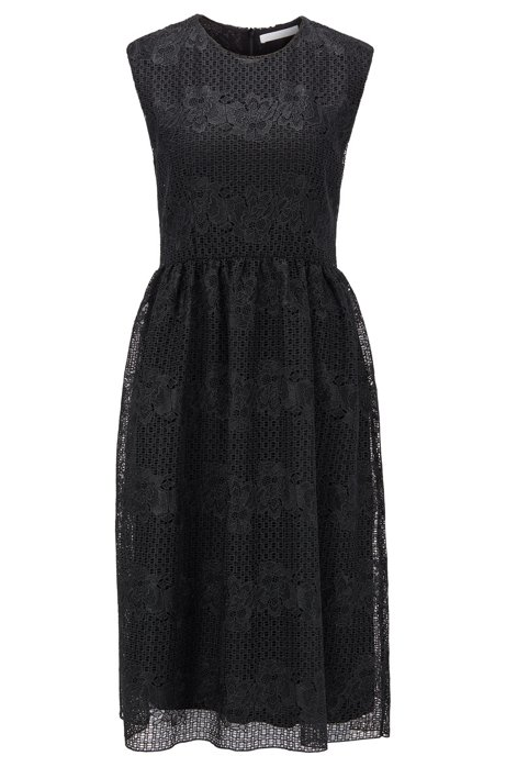 Ärmelloses Kleid aus Blumenspitze mit durchgehendem Innenfutter, Schwarz