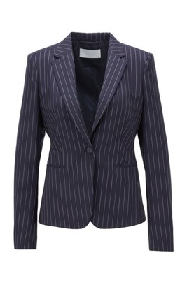 Pinstripe regular-fit jacket in traceable wool with stretch, Dark Blue