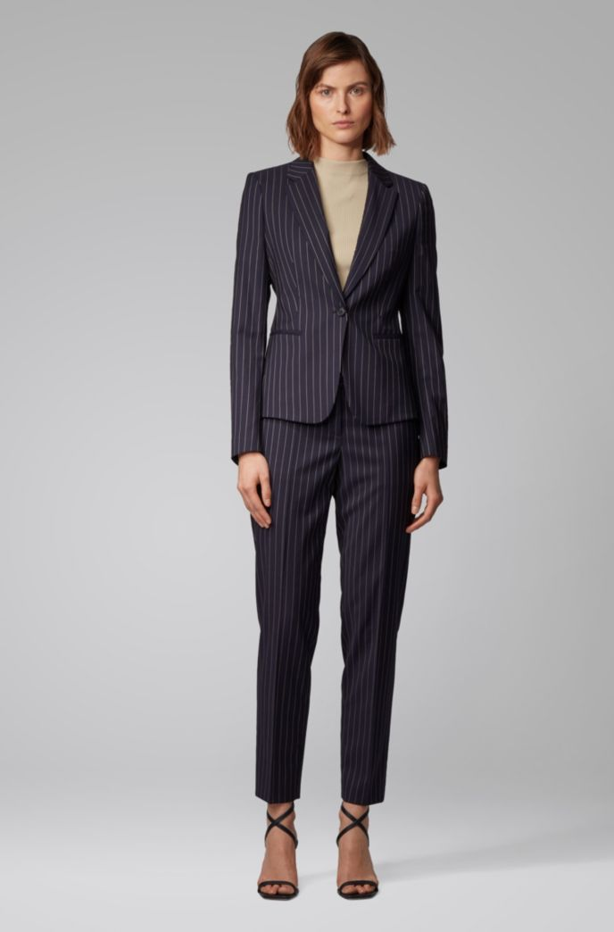 Pinstripe regular-fit jacket in traceable wool with stretch