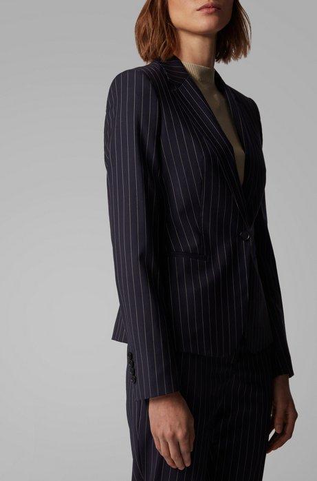 Veste Regular Fit en laine stretch traçable à rayures tennis, Bleu foncé