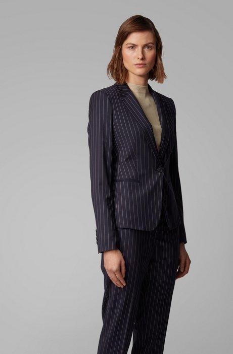 Regular-Fit Blazer aus nachverfolgbarer Stretch-Schurwolle mit Nadelstreifen, Dunkelblau