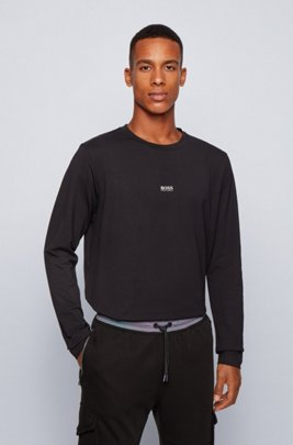 Long-sleeved stretch-cotton T-shirt with five-layer logo, Black