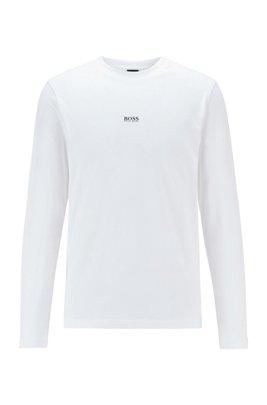 ロングスリーブ ストレッチコットン Tシャツ 5レイヤーロゴ, ホワイト