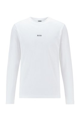 Long-sleeved stretch-cotton T-shirt with five-layer logo, White