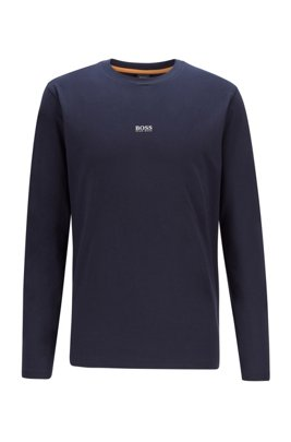 Long-sleeved stretch-cotton T-shirt with five-layer logo, Dark Blue