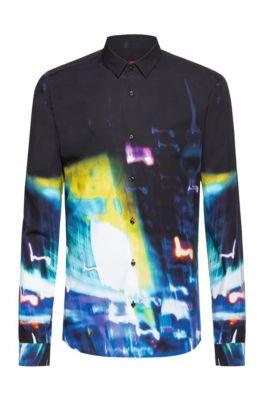 Extra slim-fit overhemd van katoen met print van stadslichten, Bedrukt