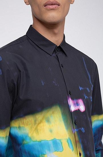 男士城市光影印花超修身棉衬衫,  001_黑色