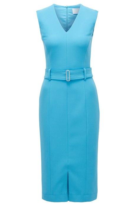Vestido midi en tejido elástico de doble cara, Azul
