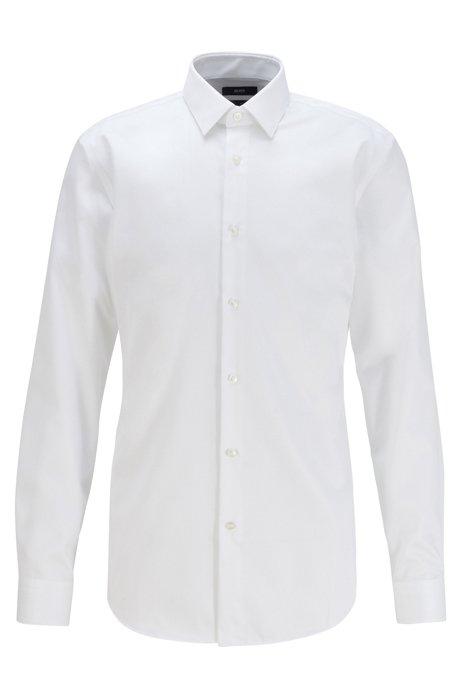 Slim-fit overhemd in een twill van kreukbestendige katoen, Wit