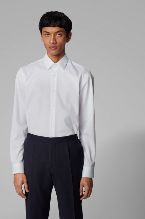 Slim-fit shirt in crease-resistant cotton twill, White