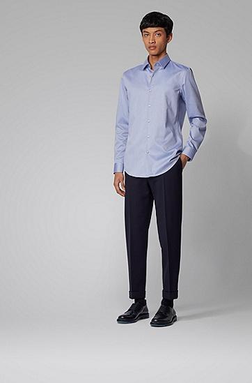 男士抗皱斜纹棉修身衬衫,  410_海军蓝色