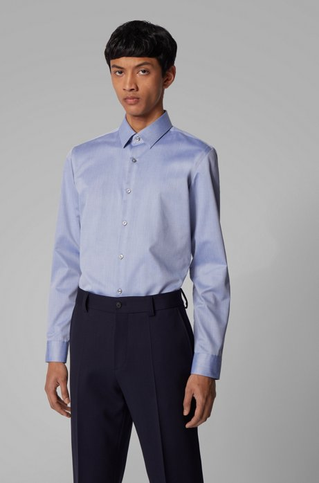 Camicia slim fit in twill di cotone antipiega, Blu scuro