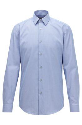 Slim-Fit Hemd aus knitterfreier Baumwolle mit Pepita-Muster, Dunkelblau