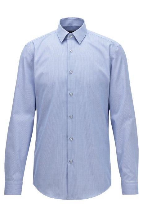 Camicia slim fit in cotone a quadretti pepita antipiega, Blu scuro